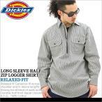 ディッキーズ Dickies ディッキーズ シャツ 長袖 メンズ ヒッコリーストライプ ワークシャツ 長袖ハーフジップシャツ メンズ 大きいサイズ LL XL XXL