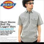 ディッキーズ (Dickies) シャツ シャツ メンズ 半袖 大きいサイズ ワークシャツ ハーフジップ 半袖 ストライプ ヒッコリーストライプ アメカジ
