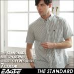 シャツ メンズ 半袖 ストライプ ボタンダウン カジャルシャツ半袖 ボタンダウンシャツ メンズ 半袖 カジュアルシャツ ストライプ EAGLE THE STANDARD イーグル