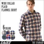 ネルシャツ メンズ 厚手 チェックシャツ フランネルシャツ メンズ チェック フランネル シャツ 大きいサイズ ワイシャツ ワイドカラー EAGLE THE STANDARD
