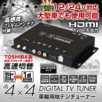 地デジチューナー 車載 フルセグチューナー 4x4 4×4 HDMI TOSHIBA製プロセッサ フルセグ ワンセグ フィルムアンテナ 自動切替