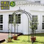 つなげられるメッシュアイアンアーチ 2連セット ローズアーチ メッシュアーチ 門 木製 フェンス ガーデニング トレリス 園芸支柱