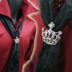 薔薇柄 ローズ柄 ストール  クラウン型 キラキラ リング付  2wayモデル 黒ブラック  T・S・U ホスト お兄系 きれいめ