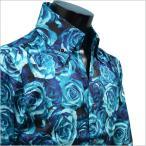 ローズ薔薇柄シャツ 花柄ドレスシャツ 光沢調バラジャガード柄ミックス ロイヤルブルー 長袖メンズシャツ サテンシャツ