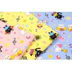 【割引/期間限定】1m単位 Isekiオリジナル ダブルガーゼ ネコと音楽 生地 布 綿 ねこ/猫 ネコ柄 STW-2903-4-XWT