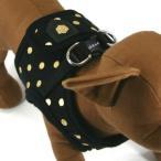 犬のハーネス(胴輪){ML(メーカーサイズ:M)} - モダン ドッティ ハーネス  ブラック 