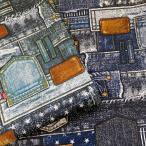 オックス 生地 デニム風 ペンキとポケット パッチワーク風 ワッペンプリント 綿100% 布 手芸 デニム