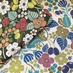 綿麻 キャンバス 生地 北欧風 お花とオリーブ時々てんとう虫 いちご 木の実 綿麻キャンバス ブルーベリー てんとう虫 北欧の森 総柄