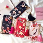 ショッピングフリンジ iPhone ケース カバー 和風 フリンジ付き 梅の花 鳥 鯉 ハンドメイド ソフトケース 赤 黒 ピンク 黄色 iPhone7 アイフォーン 6 6s Plus オシャレ