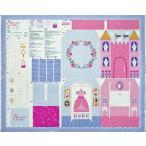 MO-3988 お城と部屋型のプレイ・ブック ピンク/薄紫/パネル 110*91 コットンプリント生地