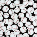 DT-4193 野球のボール ブラック コットンプリント生地