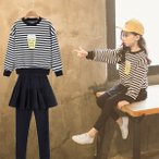 韓国子供服 女の子2点セット 上下セット スカジャン キッズ ダンスジャージ スタジャン&スカート付きレギンス セットアップ キッズ カジュアルパンツセット