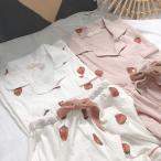 パジャマ レディース 春夏半袖パジャマ  ショットパンツ  綿 ルームウェア上下セット イチゴ柄 パジャマ 可愛い 部屋着 韓国風  寝巻き パジャマ 安い