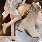 ウエスタンブーツ レディース 秋冬 ショット丈ブーツ ブーティーシューズ スエード調靴 マーティンブーツ  黒 太めヒール スクエアトゥブーツ 歩きやすい 美脚
