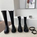 ブーツ レディース 秋冬 ジョッキーブーツ 厚底靴レザーシューズ ロングブーツ 黒 ラウンドトゥブーツ ウエスタンブーツ pu革 歩きやすい 美脚 カジュアル