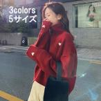 セーター レディース ペアセーター カップルセーター オシャレ きれいめ 大きいサイズ 春秋 長袖 ハート柄 ハイネックセーター カジュアル トップス 3色