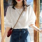 ブラウス レディース きれいめ 40代 春夏 上品 レース花刺繍ブラウス 白シャツ 五分袖 ゆったり オシャレ 韓国風 大人 Tシャツ30代 50代