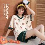 パジャマ ルームウェア レディース 春夏 半袖 パジャマ ショットパンツ ルームウェア 上下セット 可愛い 韓国風 パジャマ 女性 部屋着 寝巻き 10色 新作