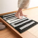 Kooyi 玄関マット バスマット 屋内 室内 用 滑り止め 付き 丸洗い可能 (約 50х80 cm, 枠 黒白灰3色)