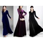大きなサイズ(XXXLサイズ)エレガントなベロアデザインAラインフレアーロングドレス 全4色