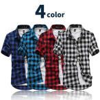 チェックシャツ ブロックチェック ネルシャツ メンズ 半袖 ギンガム シャツ トップス バッファロー チェック chs-0001
