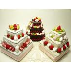 ギフトボックス・フェイクスイーツ◆フルーツいっぱいの四角いデコレーションケーキ3段小物入れ