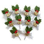 クリスマスケーキ 飾り  オーナメント FX-9  シルバーリボンと赤い木の実の緑のヒイラギ (10本入)