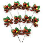 クリスマスケーキ 飾り オーナメント FX-28 ストライプリボンとどんぐり赤実 (10本入)