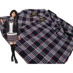 【セール除外品値下げしました♪40%OFF】リンジィ「リボンタイ付きラップ風チェックプリーツスカート」(150-160cm)