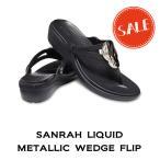 【クロックス レディース】sanrah liquid metallic wedge flip/サンラ リキッド メタリック ウェッジ フリップ ウィメン/ガンメタルxブラック