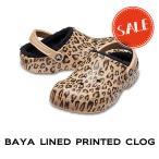 【クロックス crocs メンズ レディース ボア】baya lined printed clog/バヤ ラインド プリンテッド クロッグ/レオパードxゴールド