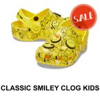 【クロックス キッズ】Classic Smiley Clog Kids/クラシック スマイリー クロッグ キッズ/ホワイトxマルチ