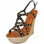 レディース 靴 ミュール Gold Studded Strappy Wedge Sandals