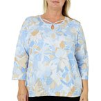 レディース 衣類 トップス Alfred Dunner Plus Turtle Cove Floral Caged Neck Top 2X Blue/beige/white ブラウス&シャツ