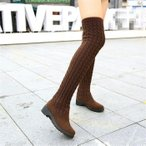 ニットブーツ ロング ケーブル編み くしゅくしゅに履ける 2way ニーハイブーツ レディース ミドルヒール4.5cm 大きいサイズあり ストレッチ 秋冬 靴