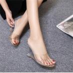 ショッピングウェッジソール クリアサンダル ウェッジソールサンダル ミュール ヒール8.5cm ハイヒール レディース 靴 歩きやすい キャバ ドレス用 パーティー 厚底 美脚