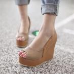 ウェッジソールサンダル レディース シューズ 靴 痛くならない 厚底 大きいサイズ 痛くない ビーチサンダル ハイヒール ウェッジソール 黒 ストラップ