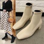 ショートブーツ レディース ソックスブーツ 靴 チャンキーヒール ローヒール ヒール5.5cm  大きいサイズ 歩きやすい 黒 スクエアトゥ 太ヒール 痛くない