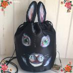ナタリー・レテ ドローストリング・バッグ レグリース 黒ウサギの巾着バッグ