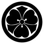 カッティングステッカー 家紋ステッカー 046 丸に剣片喰 20cm