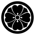 カッティングステッカー 家紋ステッカー 047 丸に四方剣片喰 13cm
