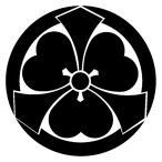 カッティングステッカー 家紋ステッカー 048 丸に出剣片喰 20cm