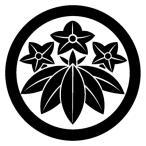 カッティングステッカー 家紋ステッカー 286 石川竜胆(いしかわりんどう) 13cm
