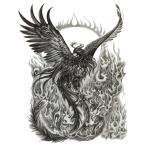(ファンタジー) TheFantasy タトゥーシール 火の鳥 鳳凰 wqa39 【大型・A4】