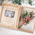 両親 プレゼント 結婚式 / 木製子育て感謝状 ボックスフレーム「ブーケ」 /選べるアレンジ
