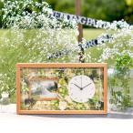 両親プレゼント[選べるフラワーアレンジ]ナチュラル花時計フォトフレーム付【木製無垢材】 | 両親へのプレゼント 結婚式