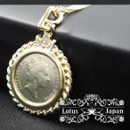エリザベス女王レリーフ 西洋コイン3ストーン付きゴールドペンダントネックレス(チェーン付き)