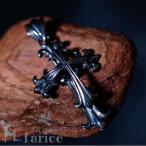 ツインクロス&ブラックキュービックジルコニアストーン ブラックロジウムシルバーペンダント (メンズ)トップ