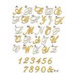 きらきら筆記体のイニシャル数字アイロンワッペン【2cm】【中】