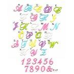 【刺繍】筆記体のイニシャル数字アイロンワッペン【3cm】【大】